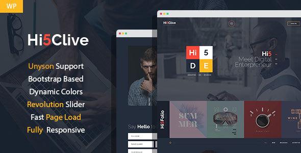 Themeforest Hi5Clive - Digital Entrepreneur WordPress Theme Free
